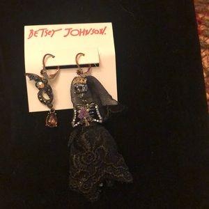 Betsey Johnson Skull bride and bat earrings